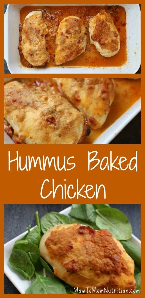 A simple chicken breast gets topped with creamy hummus for one weeknight meal that's ready in no time! #hummuschicken #hummusbakedchicken #easybakedchicken #healthyhummuschicken #kidfriendlyrecipes