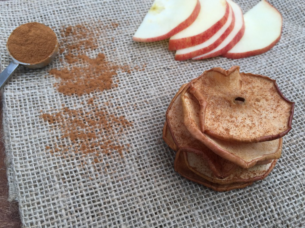 Baked apple chips make a nutritious and crunchy snack. All you need is two-ingredients, then slice, sprinkle, and bake!