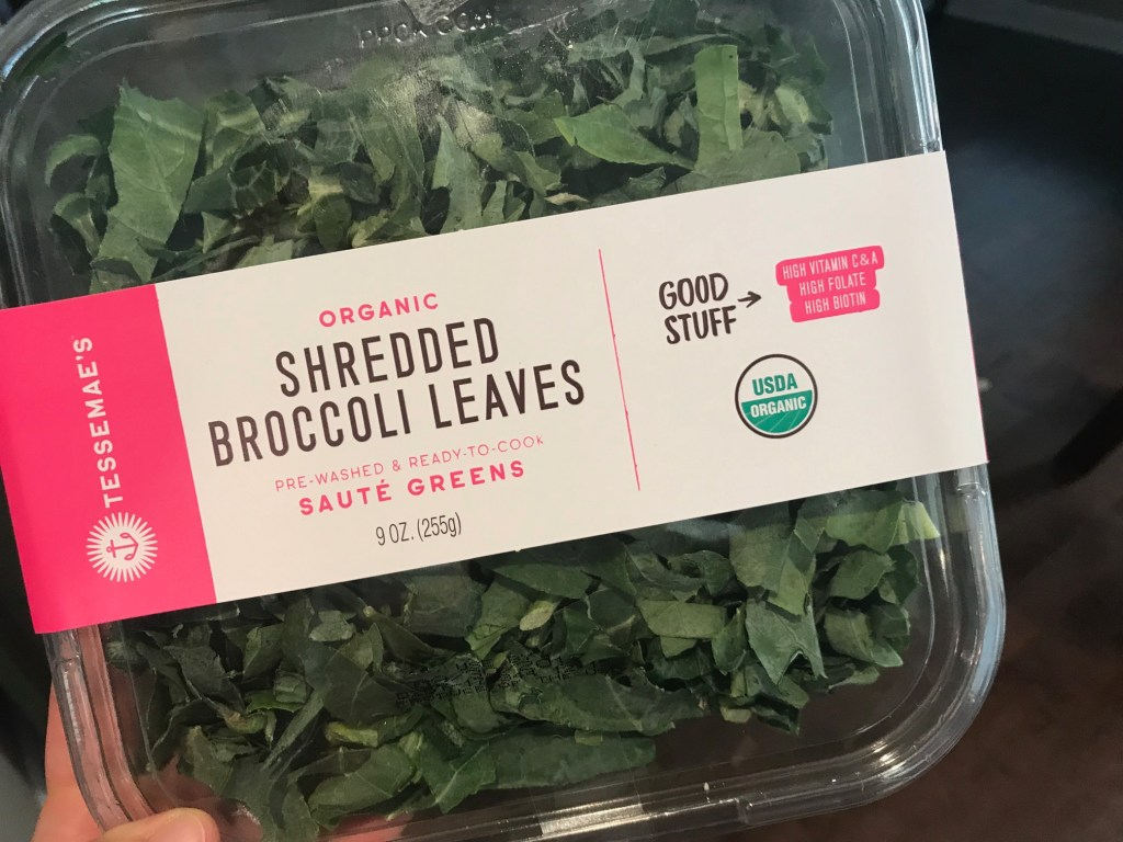 Trying broccoli leaves for the first time? Here's a quick skillet dinner where broccoli leaves are the star of the recipe!