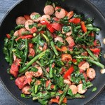 A Quick Skillet Dinner with Broccoli Leaves