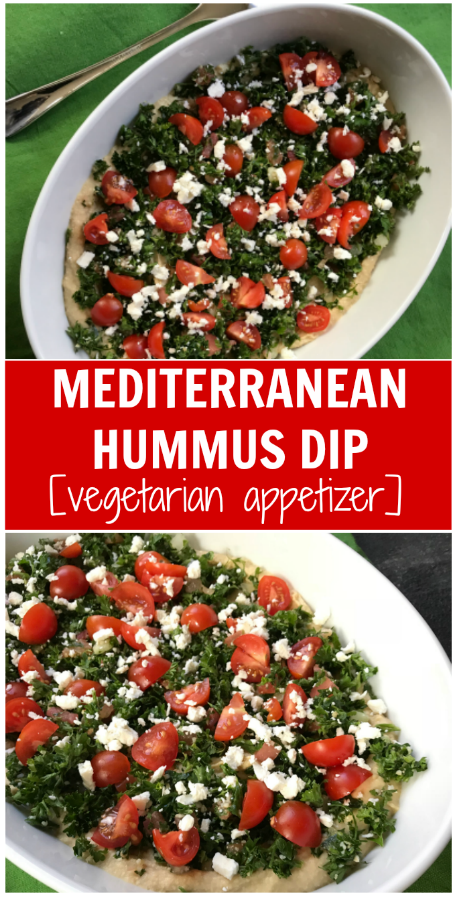 This Mediterranean Layer Hummus Dip is a fresh and healthy appetizer that is the perfect dish to pass at any party!