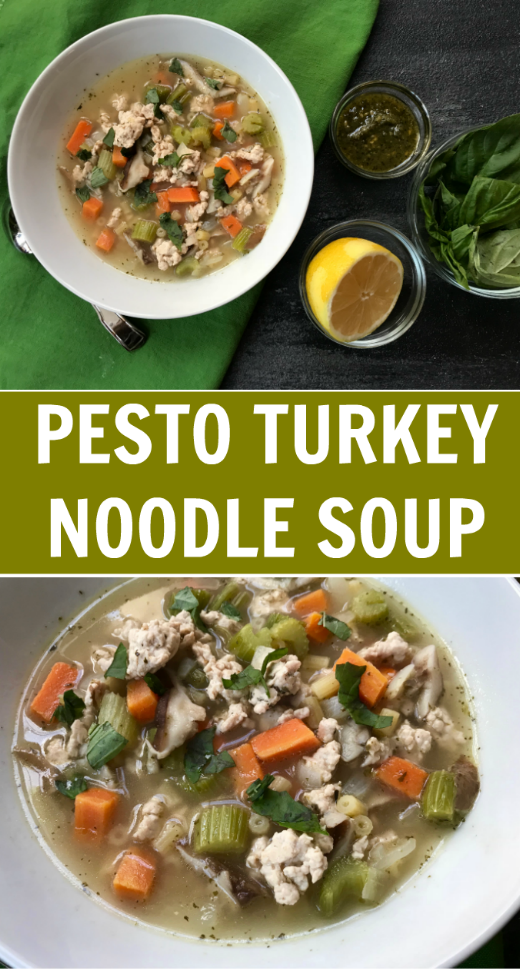 This one-pot Pesto Turkey Noodle Soup is the perfect way to warm up with a hearty, veggie-packed meal. The addition of pesto and swap of ground turkey is a delicious twist on classic chicken noodle!