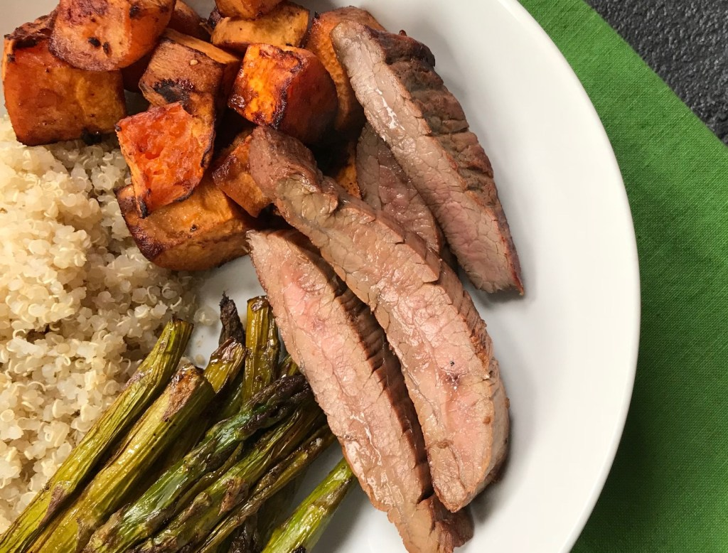 Soy Marinated Steak and Veggie Bowls are packed with protein, whole grains, and plenty of fresh vegetables, making one healthy weeknight sheet pan dinner.