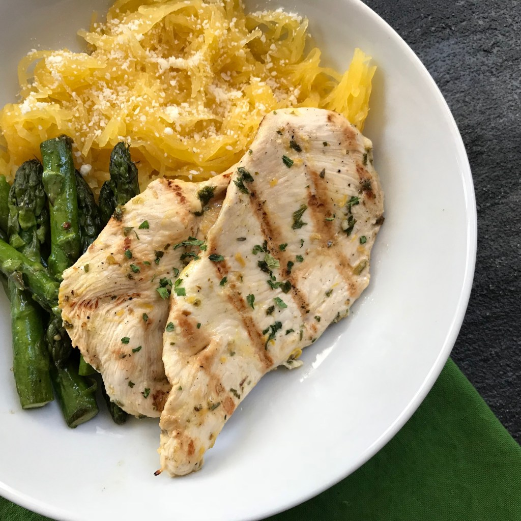 Grilled lemon chicken is a light chicken dish packed with tons of flavor from fresh lemon, garlic, oregano and parsley.