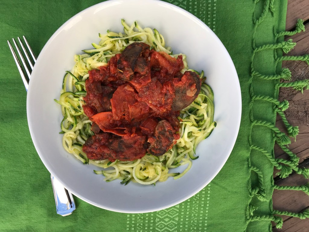 Pizza zoodles are a pizza-inspired meal much lighter than the traditional flour crust. Filled with lots of veggies and a few store-bought shortcuts, this is one dinner the whole family will love.