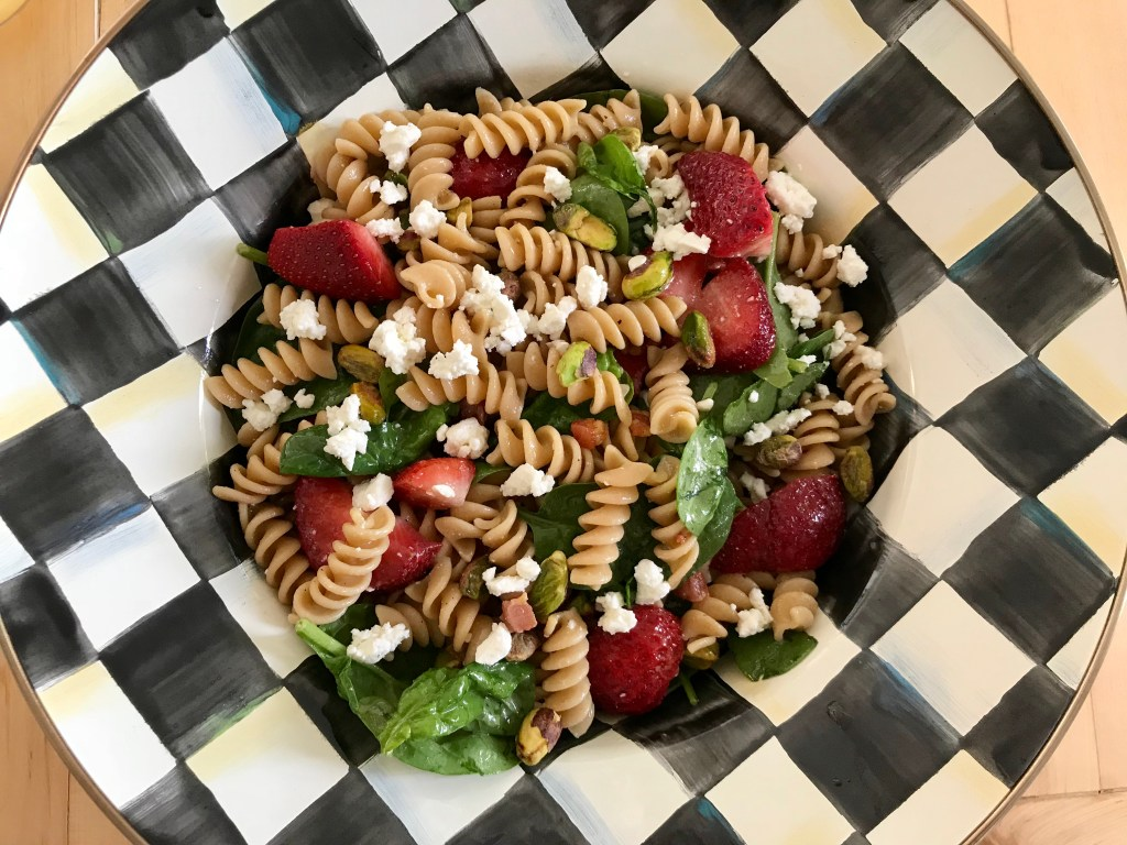 Strawberry Spinach Pasta Salad with Orange Dressing is a light, refreshing pasta salad made with fresh spinach, strawberries, whole wheat pasta, and 100% orange juice.