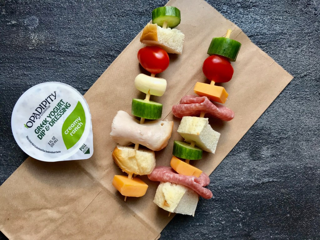 Lunch on a stick? That's exactly what Sandwich Kabobs with Ranch Dipping Sauce are. Take your favorite sandwich and deconstruct to build a kabob. Kid and adult-friendly for an easy lunch!