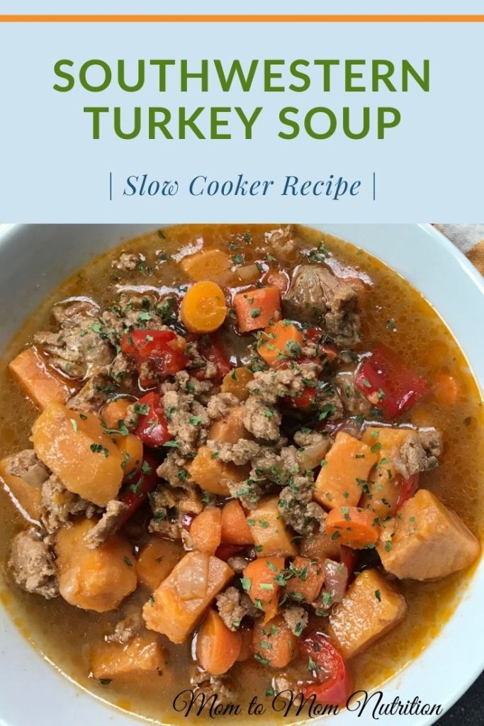 Tex-Mex flavors and the ease of using your slow cooker make this southwestern turkey soup a comforting meal any night of the week! #southwesternsoup #thebestturkeysoup #crockpotturkeysoup #turkeysouprecipe #homemadeturkeysoup #slowcookerturkeysoup