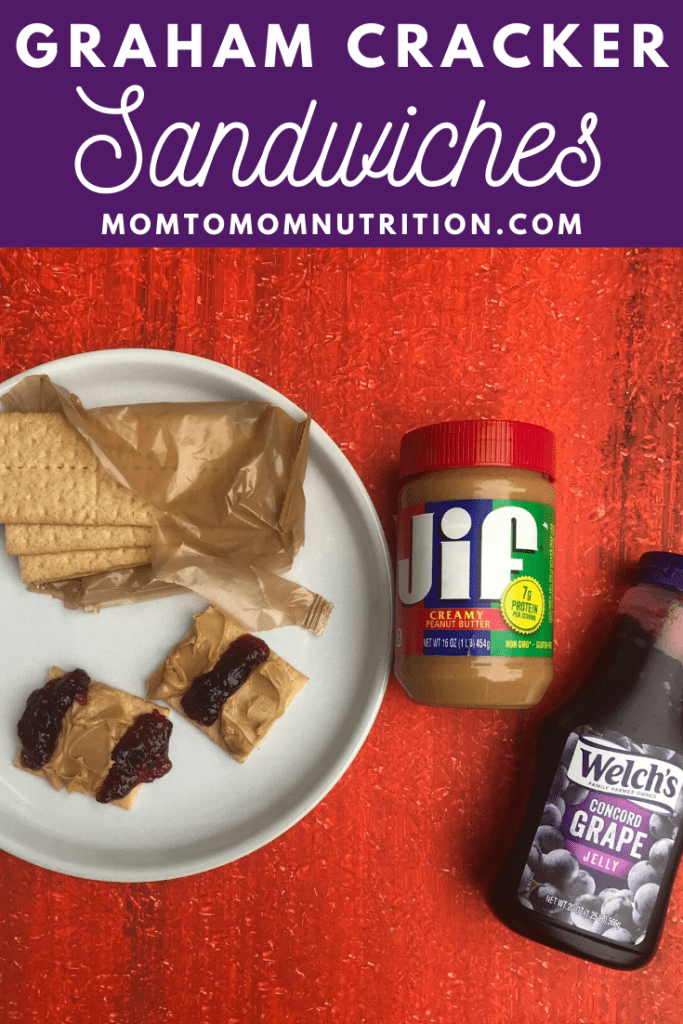 Graham Cracker Sandwiches with peanut butter and jelly make one of the easiest lunches or snacks for school lunch or at home picnics.