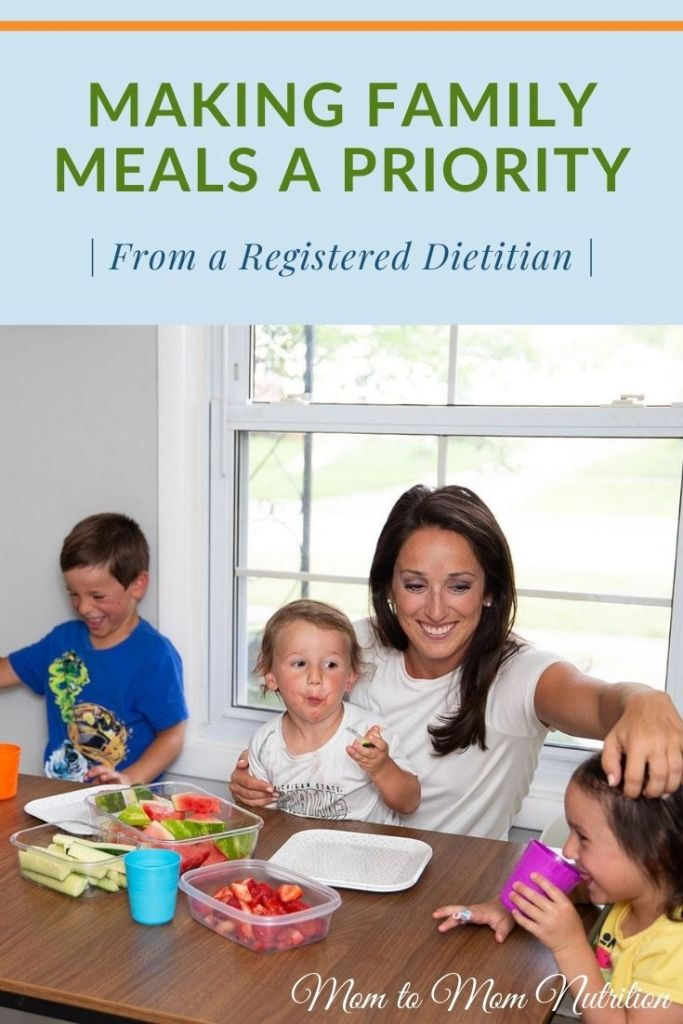 Make family meals a priority with a few simple steps. Family meals provide numerous health benefits for families to last a lifetime. #familymeals #familymealskidfriendly #familymealshealthy #dietitian #tipsandtricks #ad