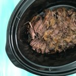 Slow Cooker Shredded Beef is the ideal cook once dine twice meal. This basic recipe can be eater as-is, or used for multiple recipe ideas.