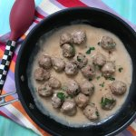 Skillet Swedish Meatballs are a one pot comfort meal, perfect for the littlest fingers or biggest forks in your family. Made with the ease of a simple skillet sauce and frozen beef meatballs.