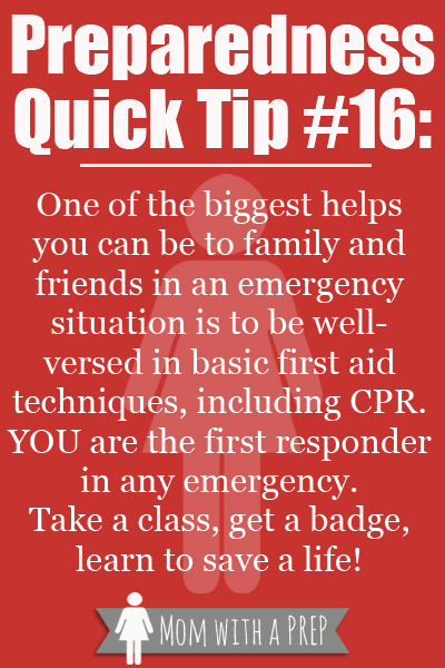PQT # 16 -- Take a First Aid Class to help save a life.