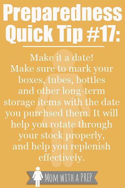 PQT: #17 - Mark your long-term storage items to keep better track of rotation and replenishment! Read more at momwithaprep.com