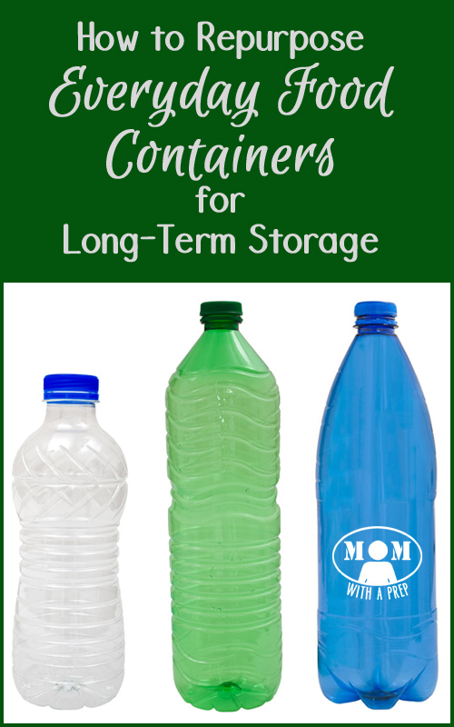 Don't just throw out those every day food and beverage containers, learn how to repurpose them for your everyday food and emergency supply storage and save money! momwithaprep.com