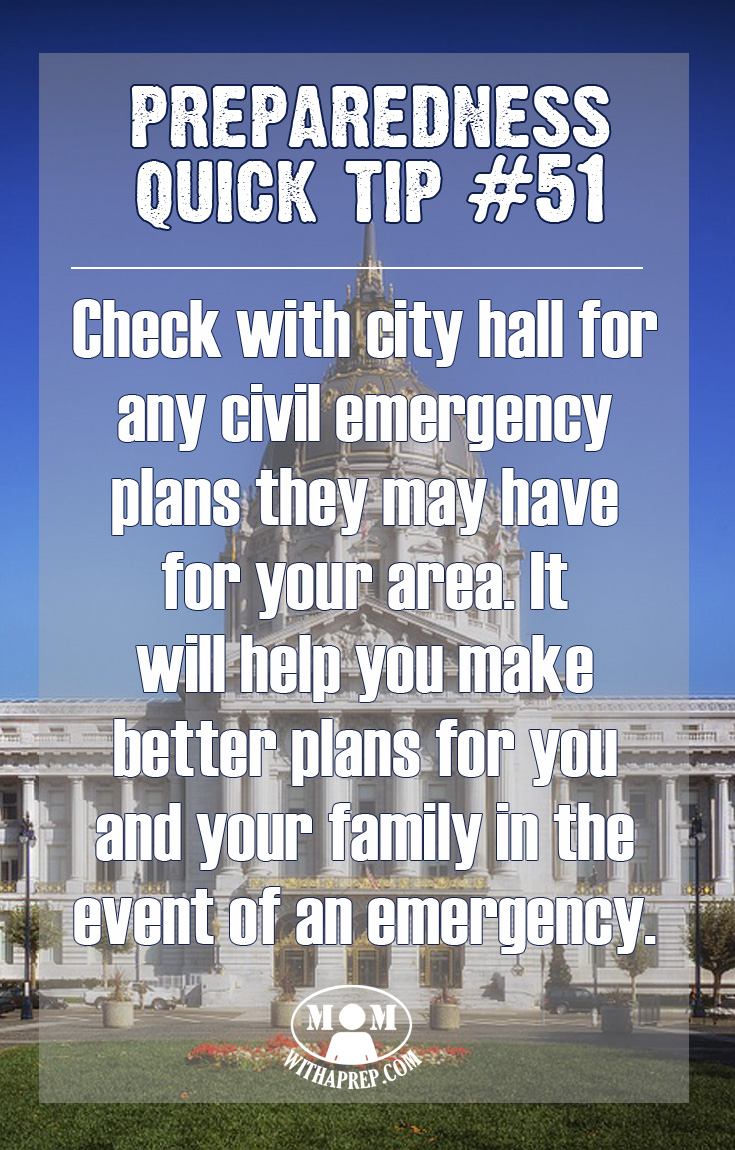 Is City Hall Prepared? Why should you care? Knowing the Civil Emergency preparedness plans of your municipality can help you become better prepared for your family in the event of an emergency.
