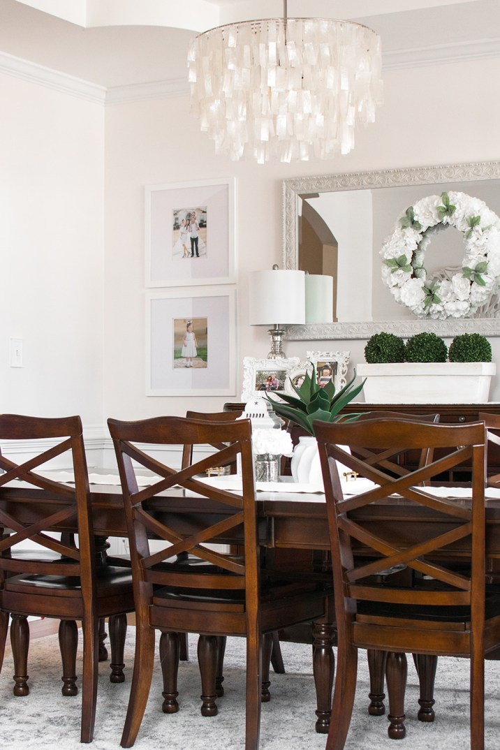 White Dining Room Decor With Wood Furniture Modern Farmhouse