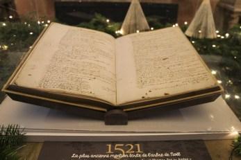 Le registre contenant la 1ere mention d'un sapin décoré pour Noël ©SHKT