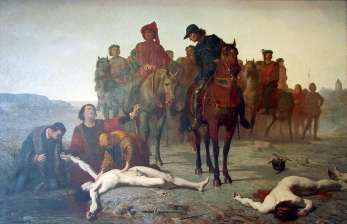 Charles le Téméraire retrouvé après la bataille de Nancy. Peinture de Augustin Feyen-Perrin (1865)