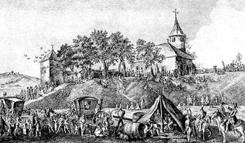 La commanderie Saint-Jean au 18e s. Gravure d'Yves Dominique Collin