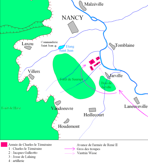 Plan de la Bataille de Nancy © Odejea - licence [CC BY-SA 3.0] from Wikimedia Commons