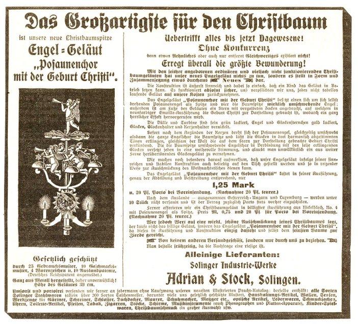 Promotion du carillon d'anges d'Adrian & Stock sur un journal allemand