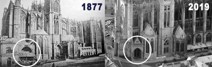 Le portail de la Vierge en 1877 et en 2019 (photomontage par French Moments)