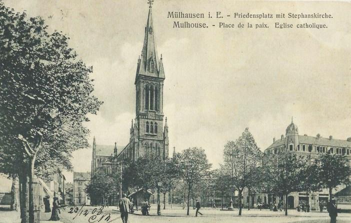 Carte Postale de l'église Saint-Etienne à Mulhouse datant de 1908
