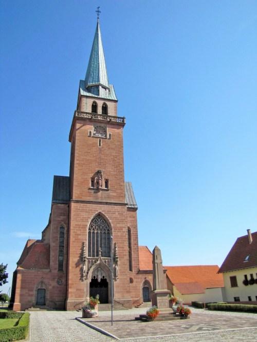 Le clocher de l'église Saint-André à Meistratzheim © Ralph Hammann - licence [CC BY-SA 4.0] from Wikimedia Commons