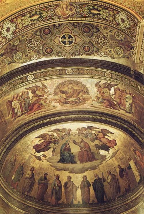 Aspect des fresques de l'abside vers 1930. Photo par Joachim Specht [Domaine Public]