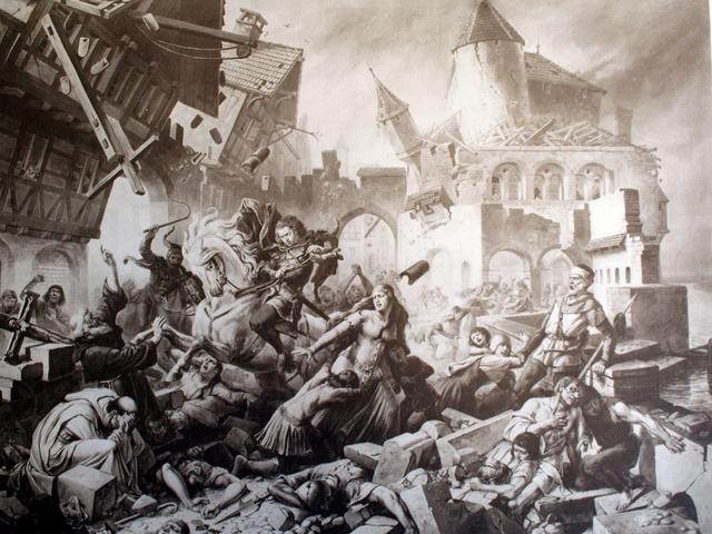 Séisme de Bâle imaginé par Karl-Jauslin (1842-1904)