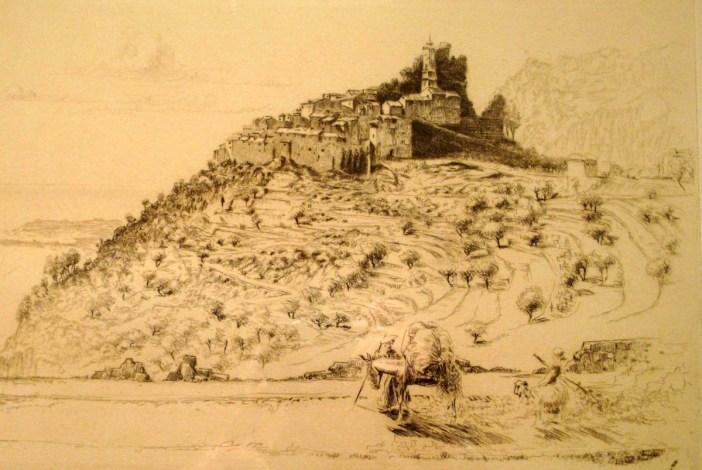 Vieille gravure du village d'Eze