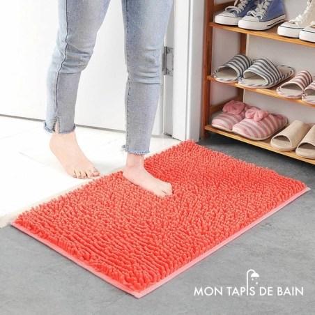 tapis de bain chenille rose orange