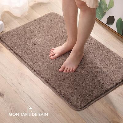 tapis de bain marron absorbant