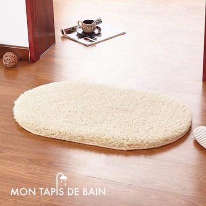tapis de bain memoire de forme couleur crème