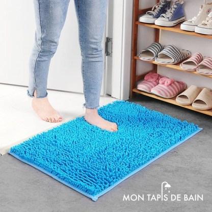 tapis salle de bain chenille antiderapant bleu