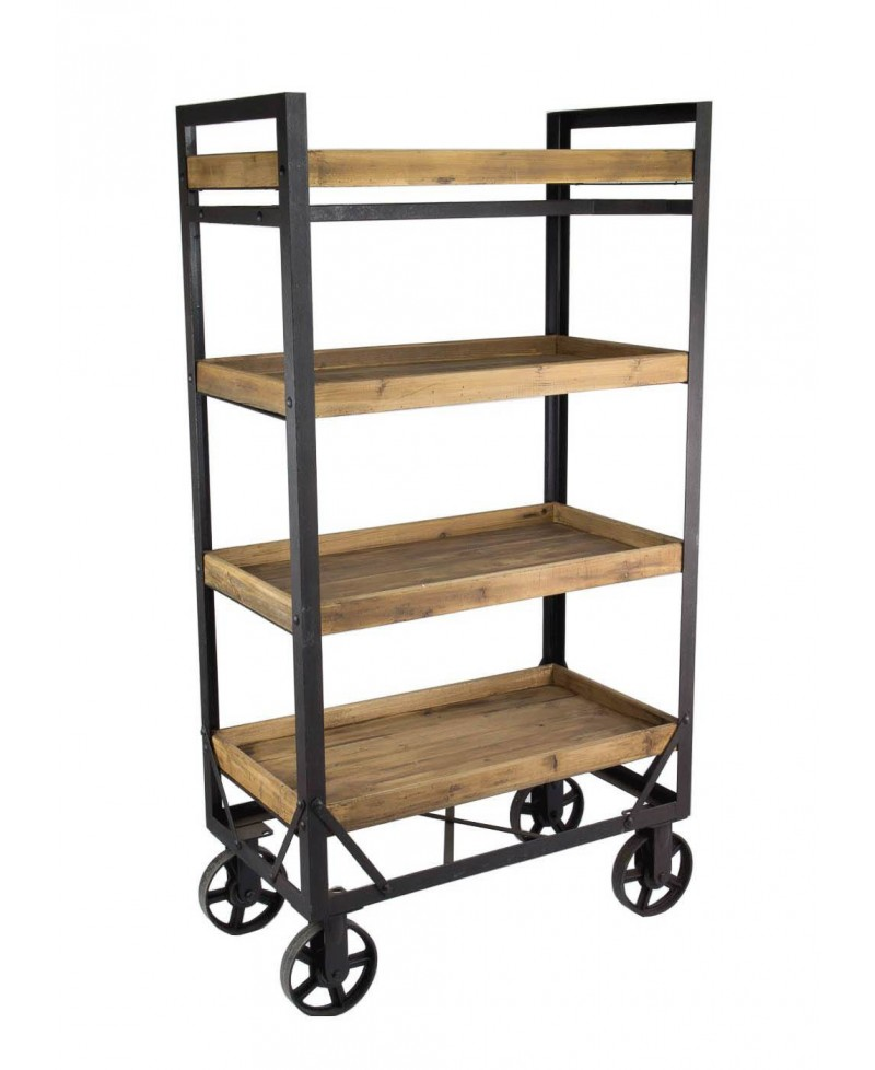 alamo etagere bibliotheque bois metal roues monachatdeco com