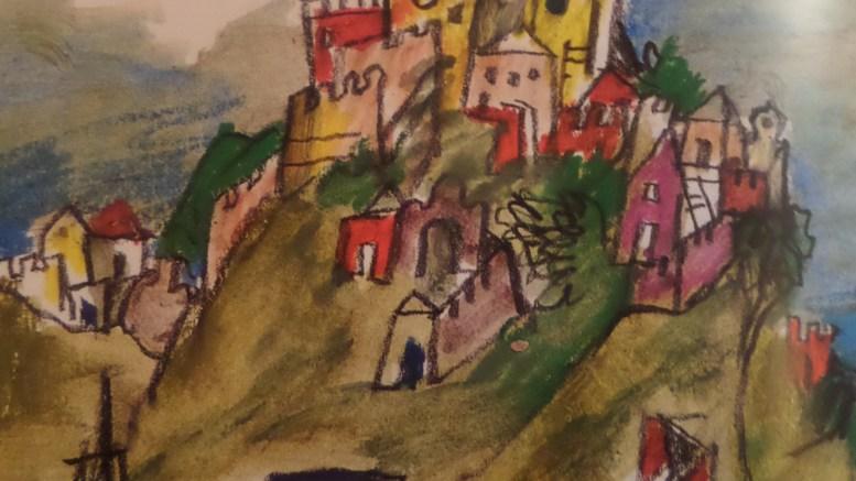 Ventimiglia, luogo di nascita, nella fantasia di Salgari, del Corsaro Nero, in un disegno di Emanuele Luzzati
