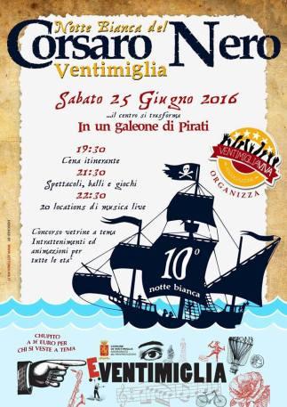 Il Corsaro Nero protagonista della Notte Bianca del 2016 a Ventimiglia