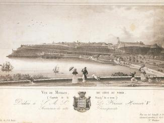Monaco ed il suo Porto in una stampa del diciannovesimo secolo