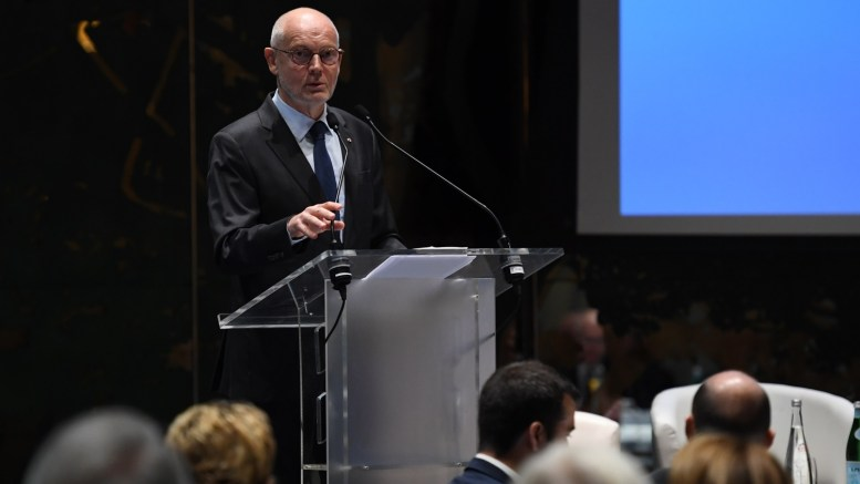Il Ministro di Stato del Principato, Serge Telle, durante la Riunione Annuale Consolare all'Hôtel Hermitage di Montecarlo