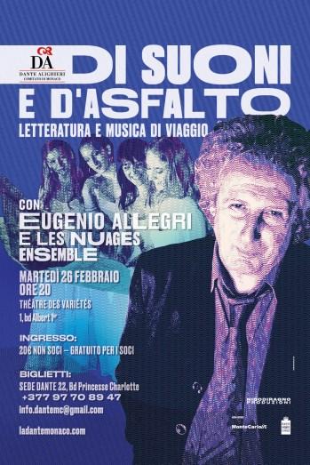 """Eugenio Allegri e le Nuages: viaggio musicale e letterario per """"la Dante"""" Monaco"""