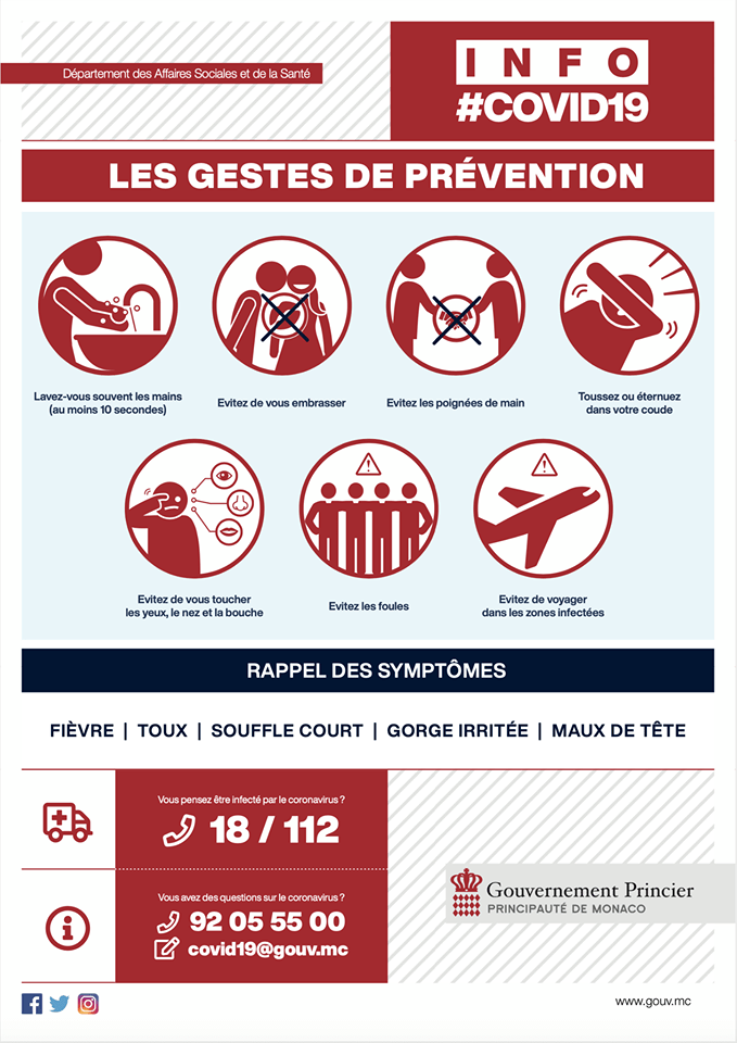 Coronavirus: Anche nel Principato di Monaco Chiusura delle Scuole da Lunedì (istituito un numero per info)