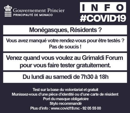 Coronavirus : Primi Risultati (parziali) della Campagna di Test sulla Popolazione nel Principato di Monaco