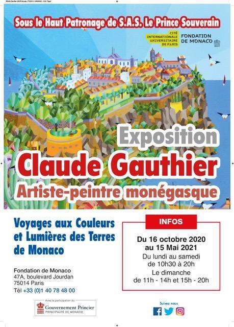 Locandina Della Mostra Di Claude Gauthier Voyages Aux Coleurs Et Lumières Des Terres De Monaco