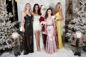 Sarah Marshall, Sandrine Garbagnati, Polina Butorina and Victoria Silvstedt with Santa