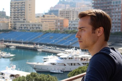 At the Port of Monaco with the GP installations in the background