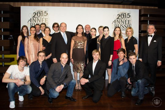 Sergei Filin, Prince Albert, Princess Carolina, Jean-Christophe Maillot, Bernice Coppieters, Igor Dronov and the Bolshoi dancers @E.Mathon, Prince's Palace