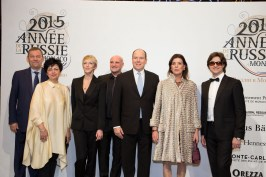 Vladimir Urin, Bolshoi Director, and his wife, Bernice Coppieters, Jean-Christophe Maillot, Prince Albert, Princess Carolina and Serguei Filin @E.Mathon, Prince's Palace