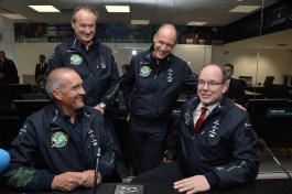 Raymond Clerc (Si2 Mission Chief), Pilots Andre Borschberg and Bertrand Piccard, with HSH Prince Albert of Monaco at the Monaco Control Center @Charly Gallo 2015